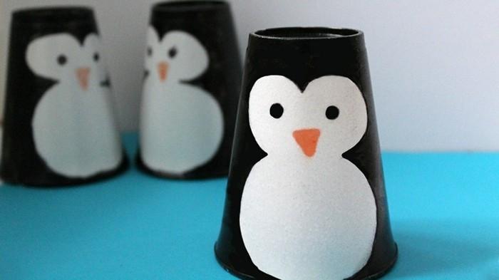 pinguin basleln mit kindern aus pappbechern