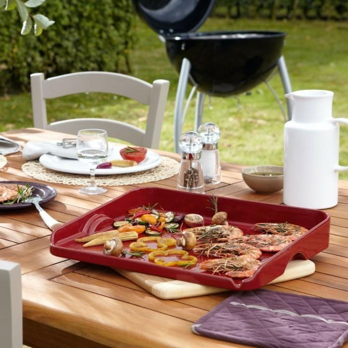 plancha grill gas gesund grillen gemüse garnelen vegetarisch