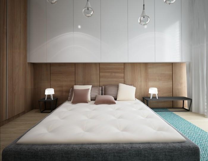 schöne wohnideen ausgefallenes skandinavisches schlafzimmer mit pendelleuchten