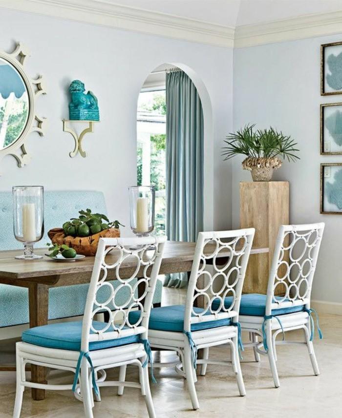 schöne wohnideen für das moderne esszimmer in blaunuancen