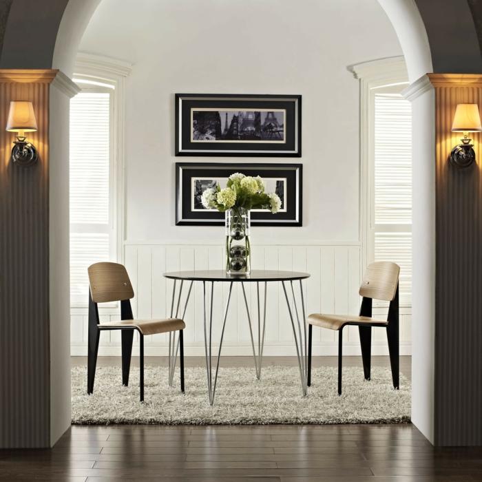 schöne wohnideen für das moderne esszimmer mit teppich und wanddekoration