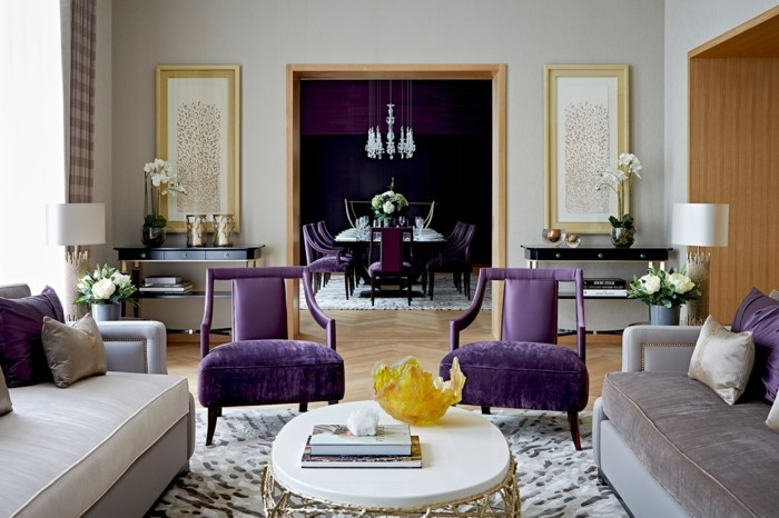 schöne wohnideen für das moderne wohnzimmer akzente in lila