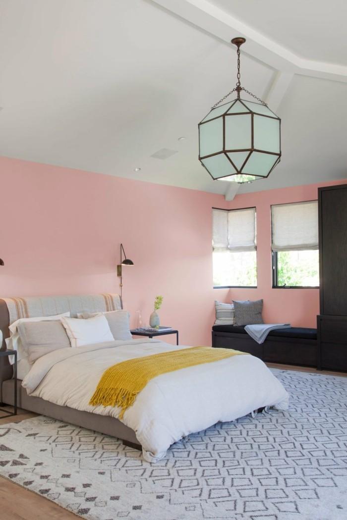 schöne wohnideen millennial pink im schlafzimmer in kombination mit schwarz