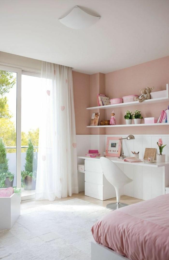 schöne wohnideen millennial pink wandfarbe und bettwäsche