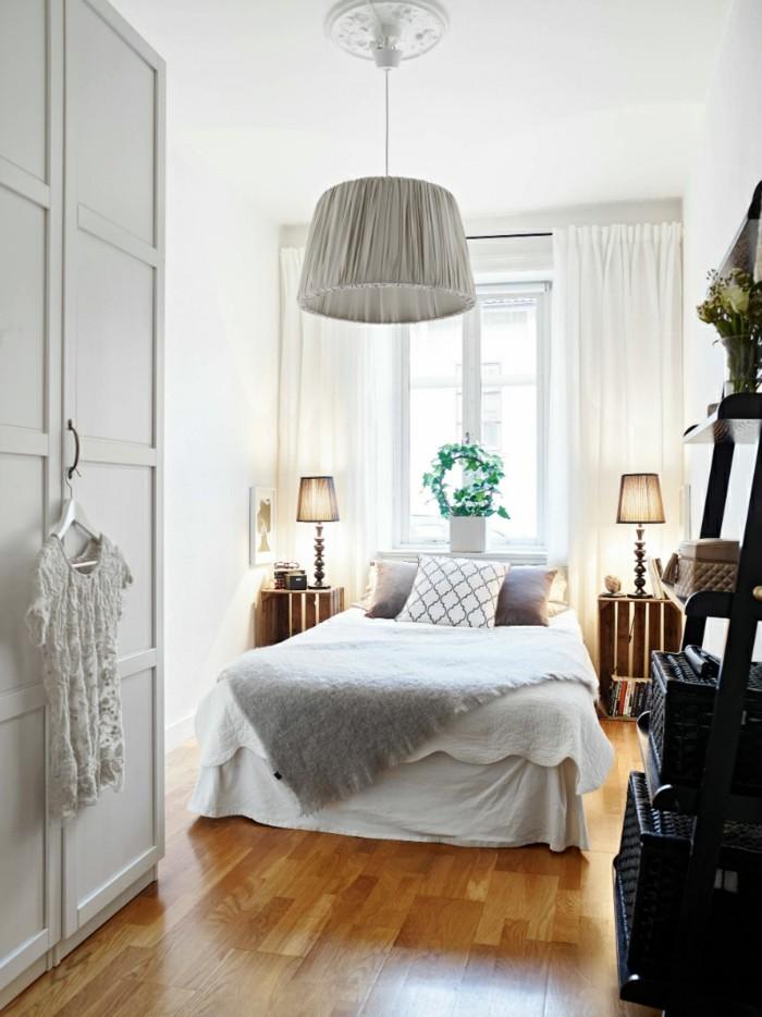 fensterverdunkelung schlafzimmer skandinavisches schlafzimmer mit luftigen gardinen