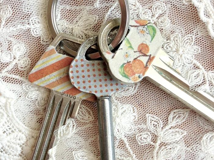 schlüssel dekorieren washi tape ideen