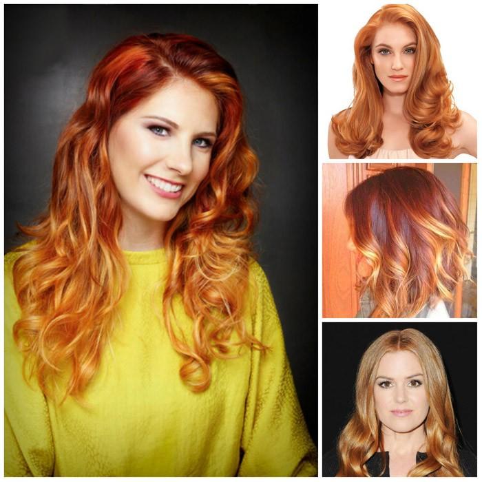 sommer frisuren 2017 rote töne farbverlauf