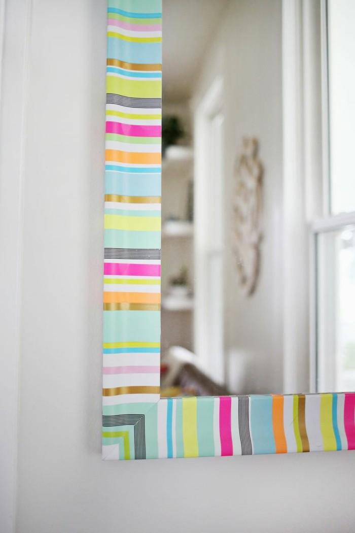 spiegelrahmen dekorieren washi tape ideen