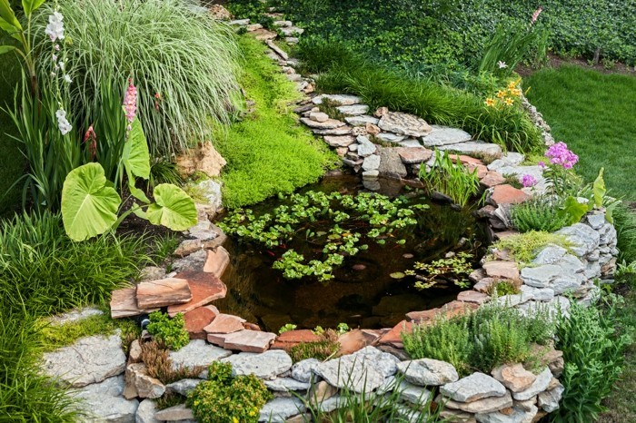 steingarten anlegen gartenteich mit steinen gestalten