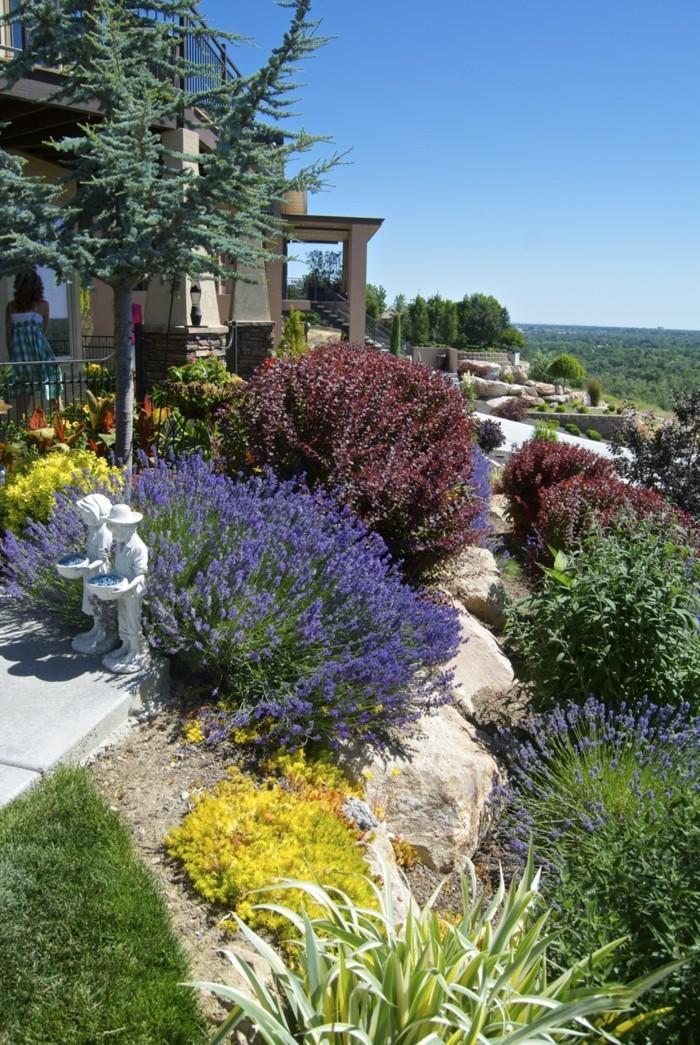 steingarten anlegen ideen mit pflanzen für eine farbige dekoration