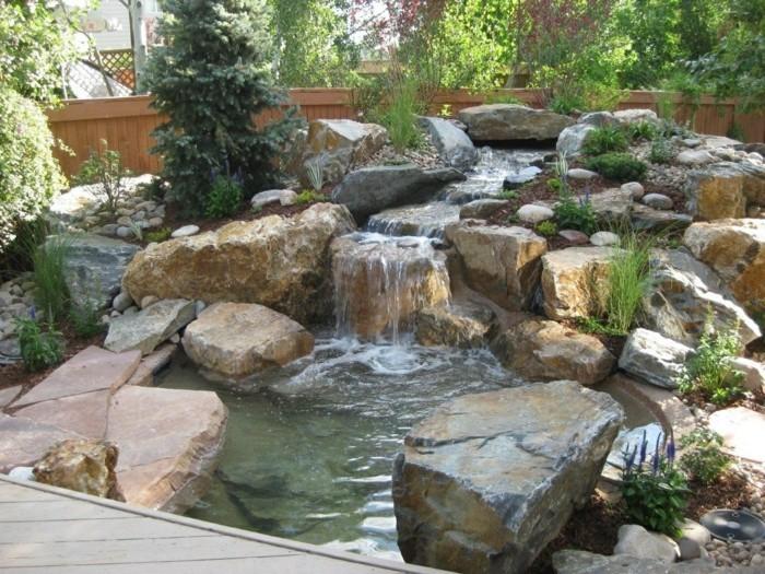 steingarten anlegen stilvolle ideen für den wasserfall im hinterhof
