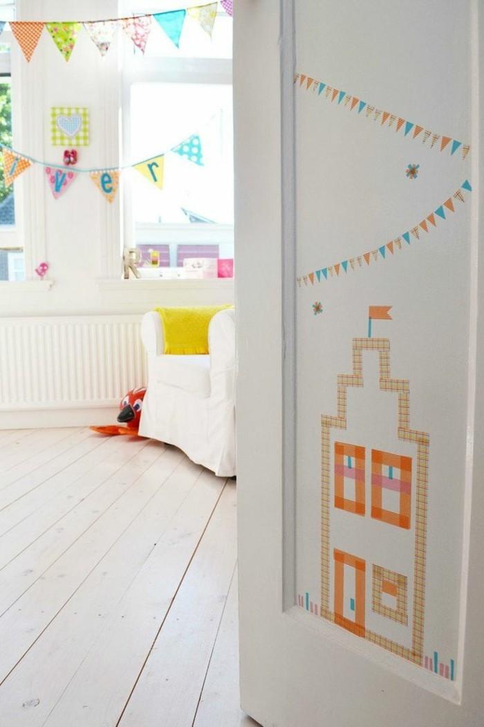tür selber dekorieren kreative washi tape ideen