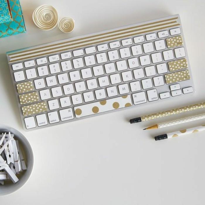 tastatur bleistifte selber dekorieren washi tape ideen