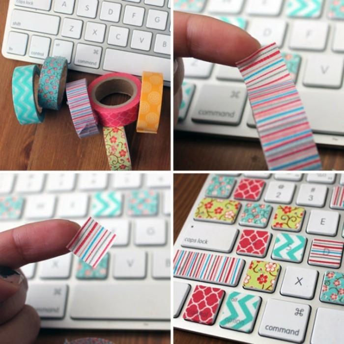 tastatur dekorieren mit washi tape