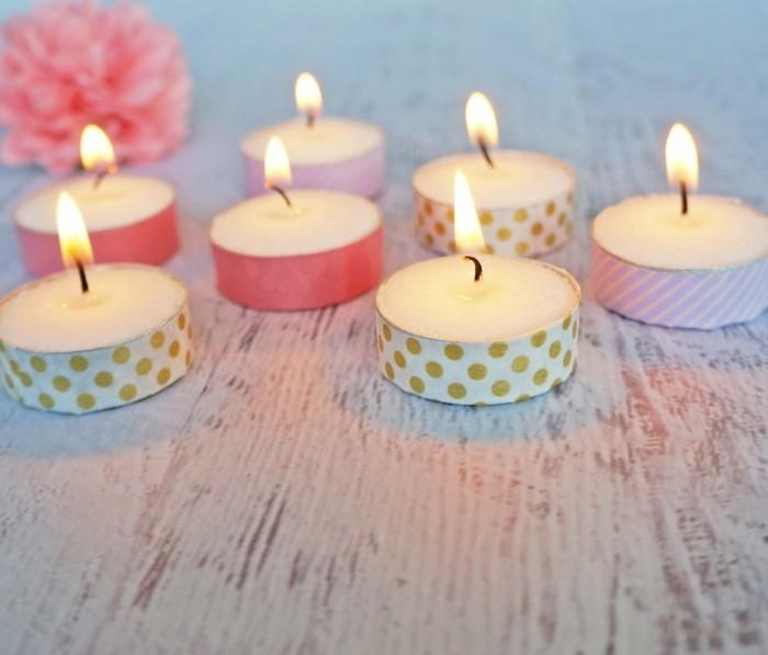 teelichter dekorieren mit washi tape