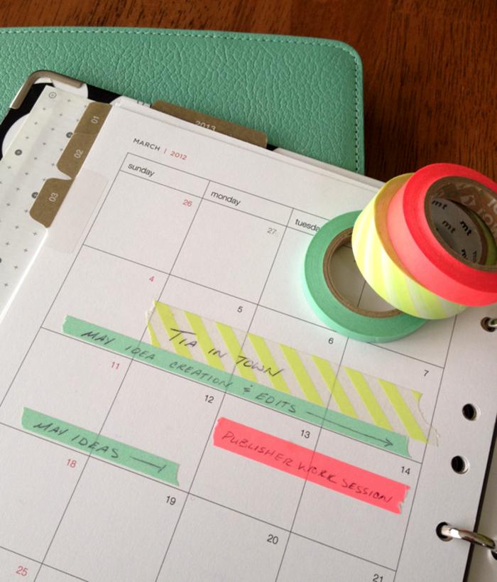 terminkalender dekorieren mit washi tape