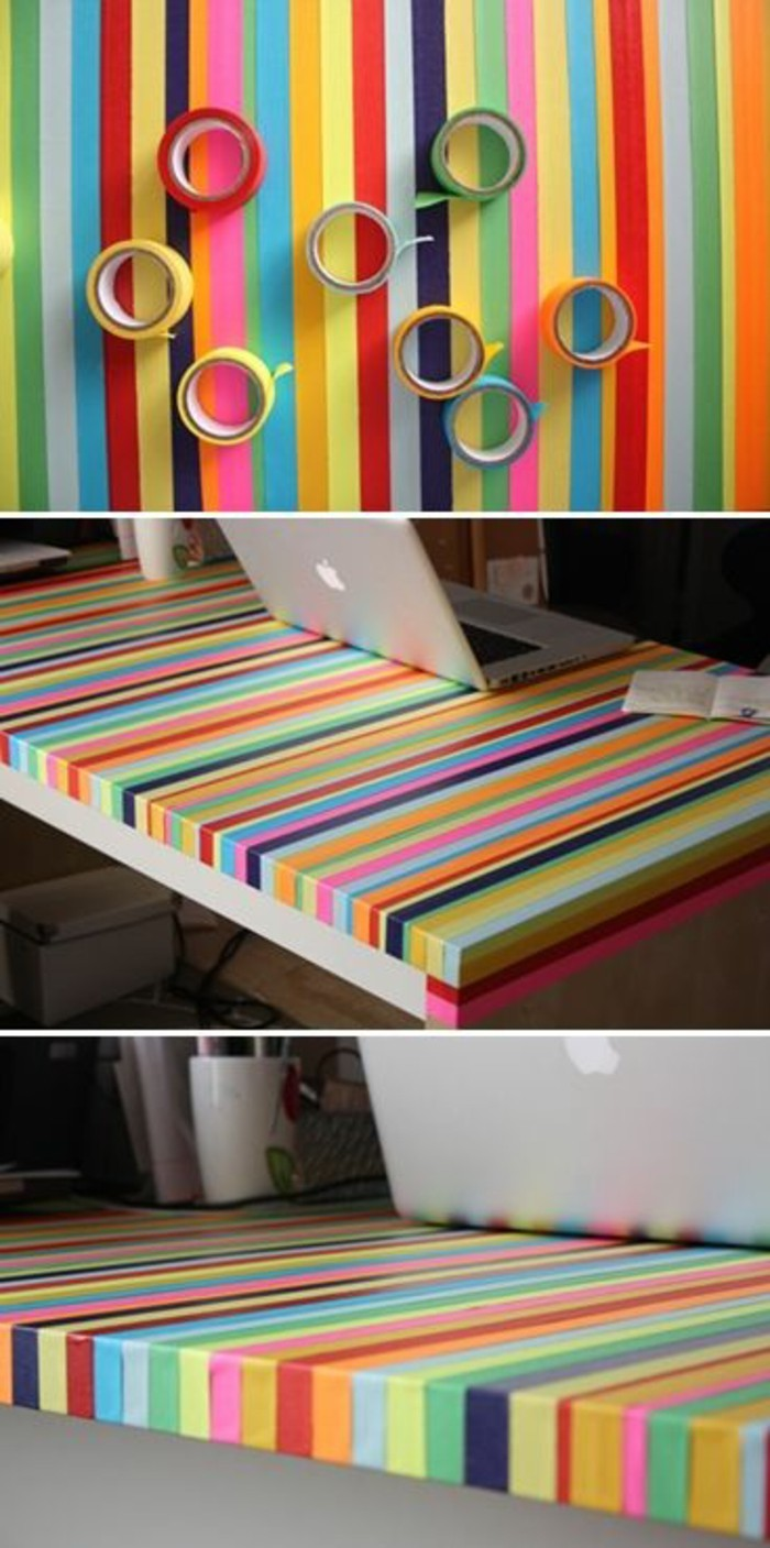 tisch mit washi tapes dekorieren ideen apple notebook