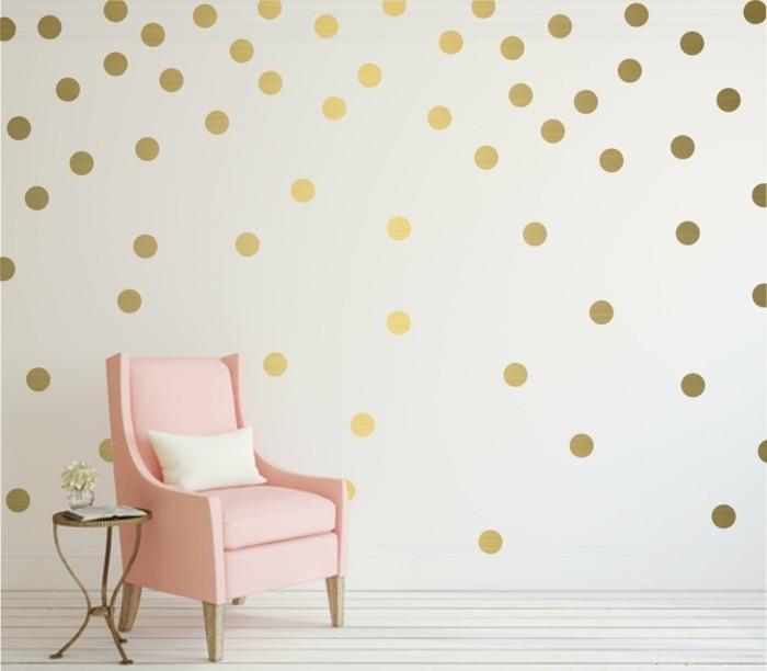 trendfarben 2017 millennial pink sessel und polka dot wandtapete