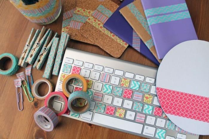 untersetzter hefte tastatur wäscheklammer washi tape ideen