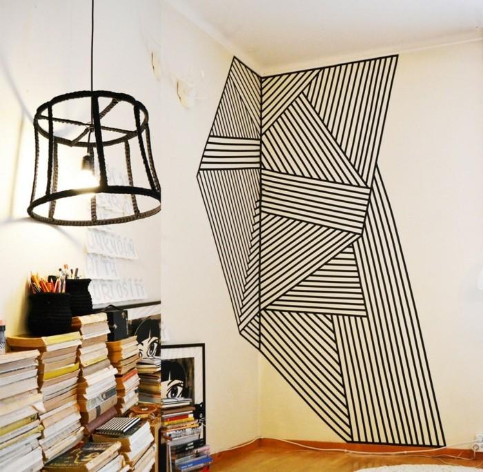 wandgestaltung mit washi tape ideen
