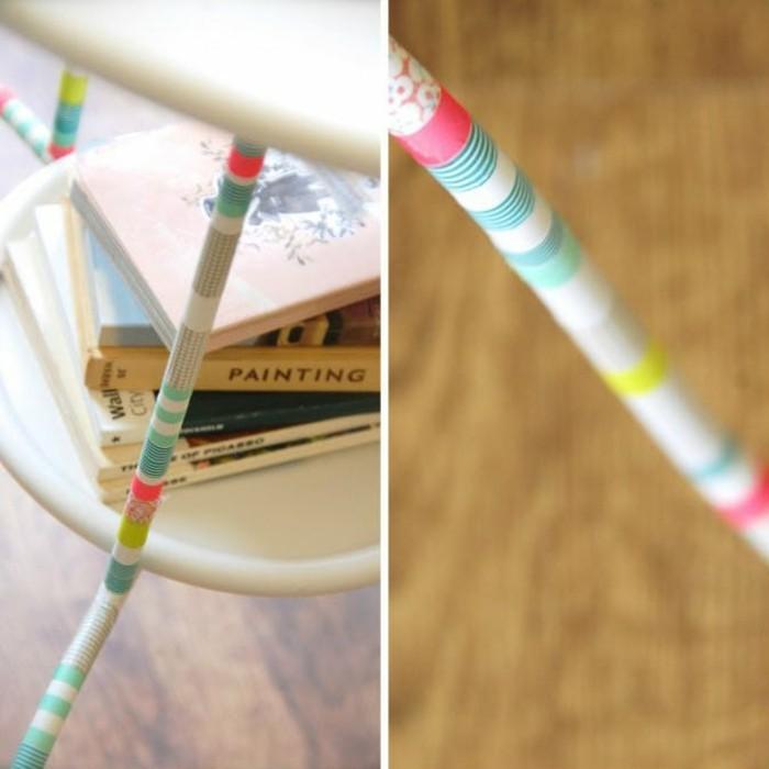 washi tape als dekoration für möbel
