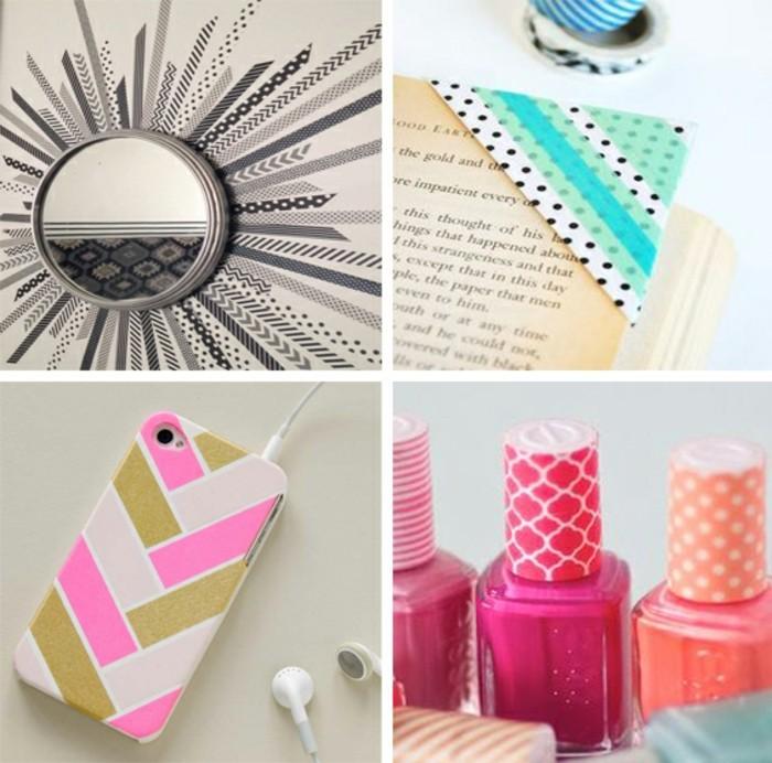 washi tape dekoideen nagellack smartphonehülle spiegel dekorieren