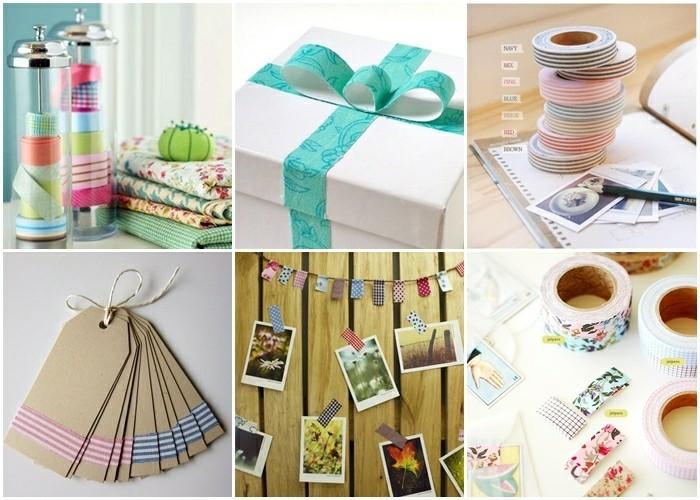 washi tape dekoideen selbermachen fotowand geschänkanhänger geschenkbox