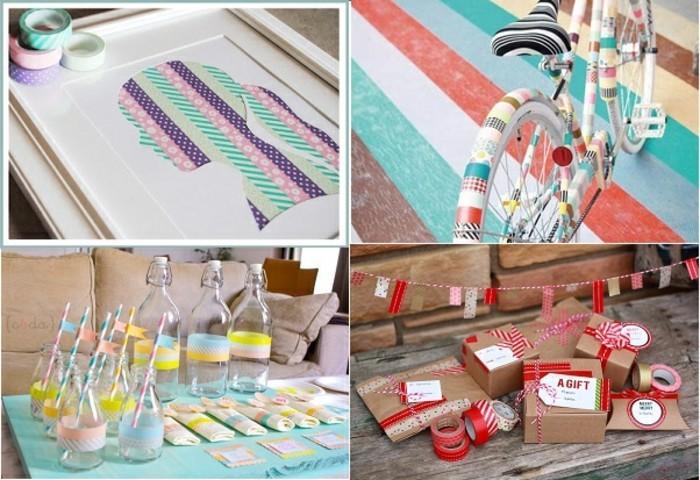 washi tape ideen fahrrad geschenkverpackungen glasflaschen