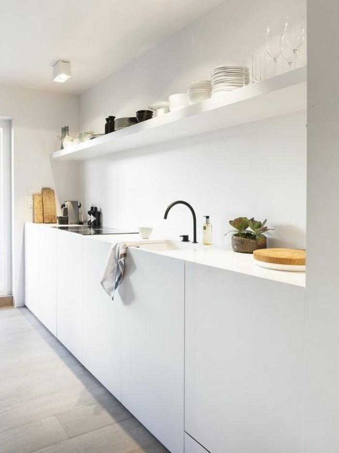 weiße küche minimalistische küche mit holzboden