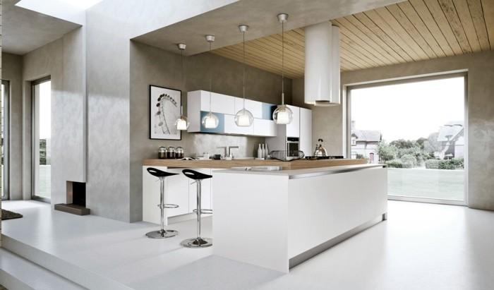 weiße küche mit schönen wänden und wandbildern