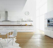 Moderne weiße Küche zeigt Stil und Eleganz, vereint Modernität und Funktionalität