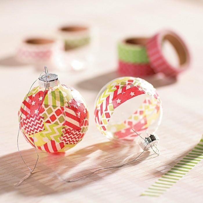 weihnachtsdeko christbaumschmuck selber dekorieren weihnachtskugel washi tape