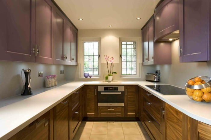 wohnideen küche ausgefallene küchenschränke und bodenfliesen in der u förmigen küche