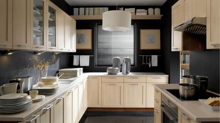 wohnideen küche beige küchenschränke und graue wände machen einen schönen farbkontrast