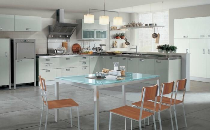 wohnideen küche eckküche mit schönem esstisch und bodenfliesen