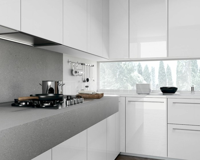wohnideen küche elegante küchengestaltung in weiß und grau