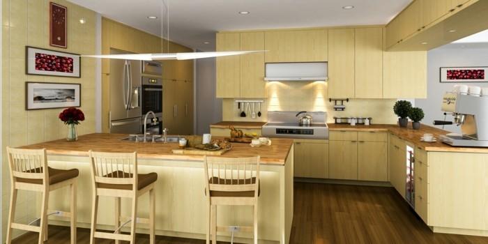 wohnideen küche winkelküche mit kücheninsel und braunem boden