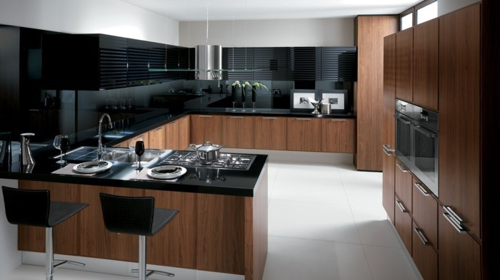 wohnideen küche funktionale u förmige küche in schwarz braun