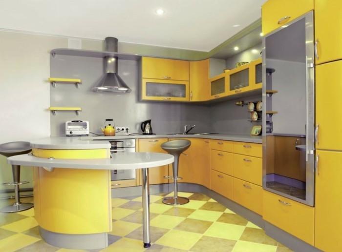 wohnideen küche g förmige küche in gelb