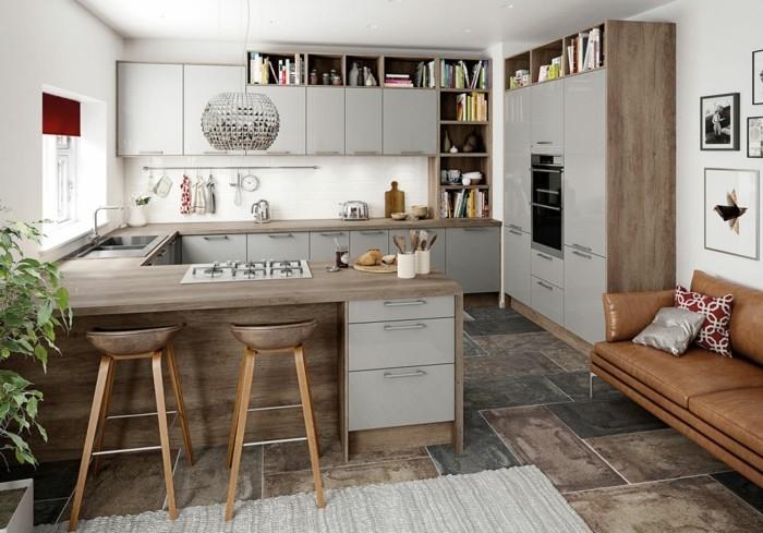wohnideen küche g förmige küche mit cooler pendellampe