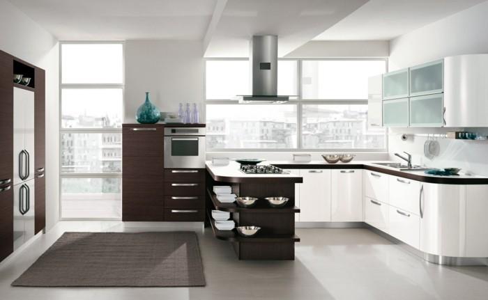 wohnideen küche g form in weiß und braun