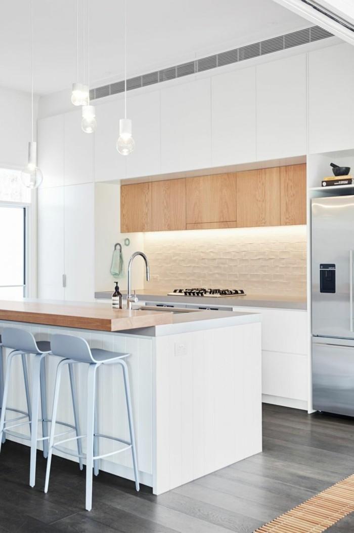 wohnideen küche grauer boden und moderne beleuchtung