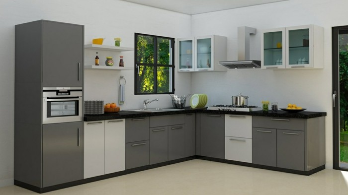 wohnideen küche kompakte küche in neutralen farben