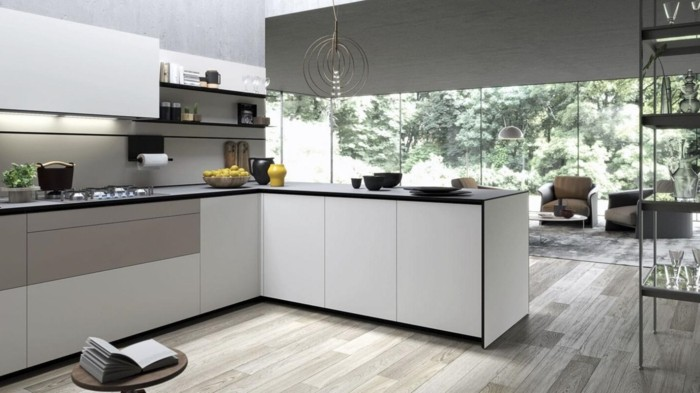 wohnideen küche l-förmig kücheninsel und schöner bodenbelag tolle hängelampe