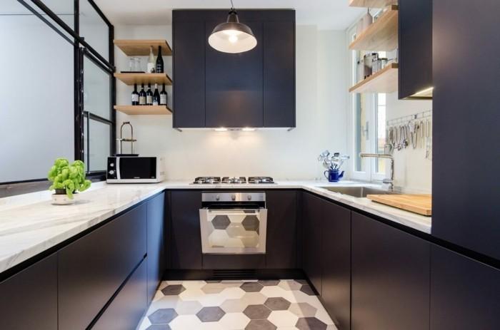 wohnideen küche moderne u förmige küche mit schönem boden