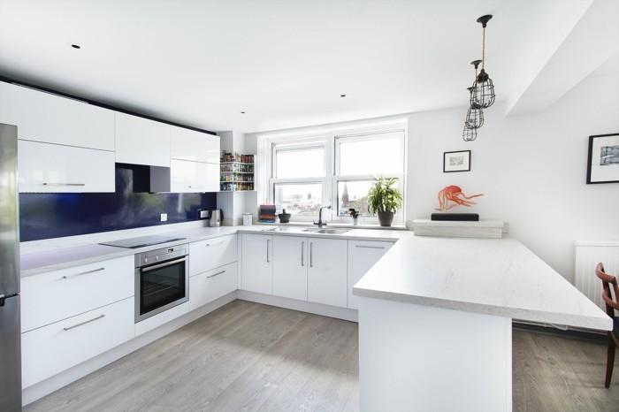 wohnideen küche moderne weiße küche in u form