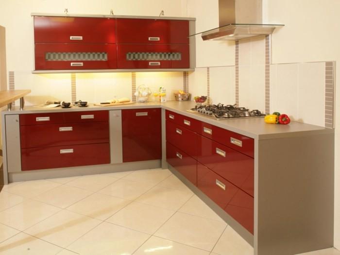 wohnideen küche rote akzente in der winkelküche