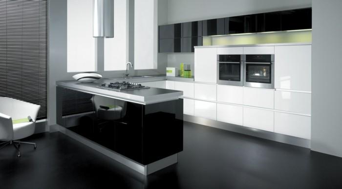 wohnideen küche u förmige küche mit eleganter schwarzer spiegeloberfläche