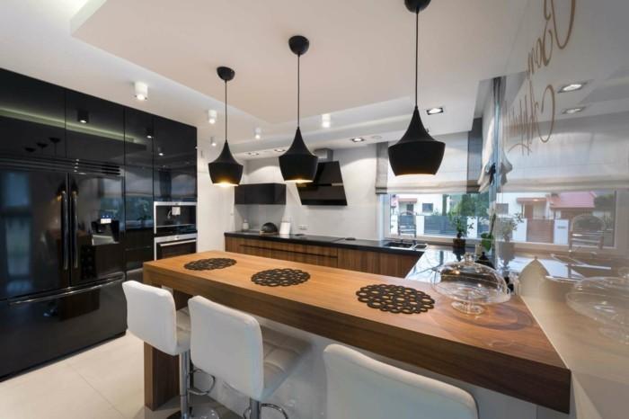 wohnideen küche u förmige küche mit schwarzen pendelleuchten