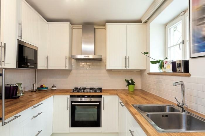 wohnideen küche u förmige küche mit holzoptik